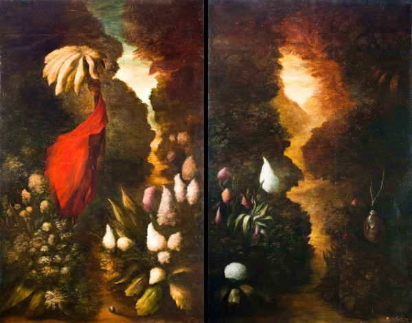 Mask of the Glade Part 1 and Part 2. 2007. Oil on canvas. 320x200cm Both parts 320x400cm